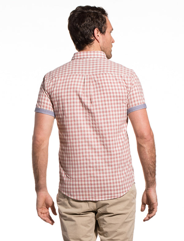 Gingham Checked Cotton Ballina Shirt in Dusty Pink / Ecru