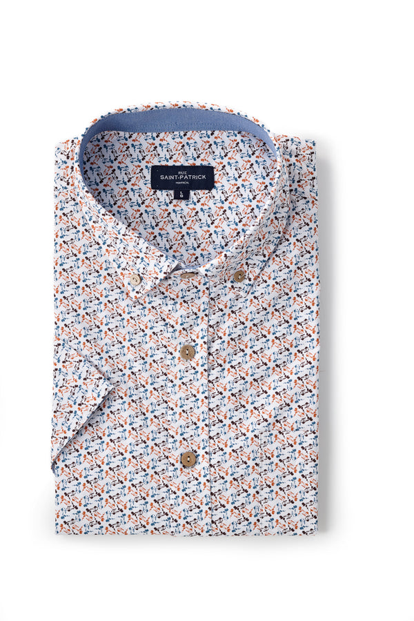 Printed Poplin Cork shirt in White / Blue