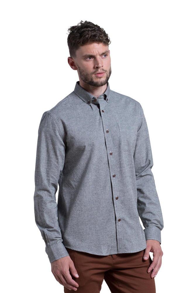 Wicklow Brushed Chambray Shirt in Charcoal