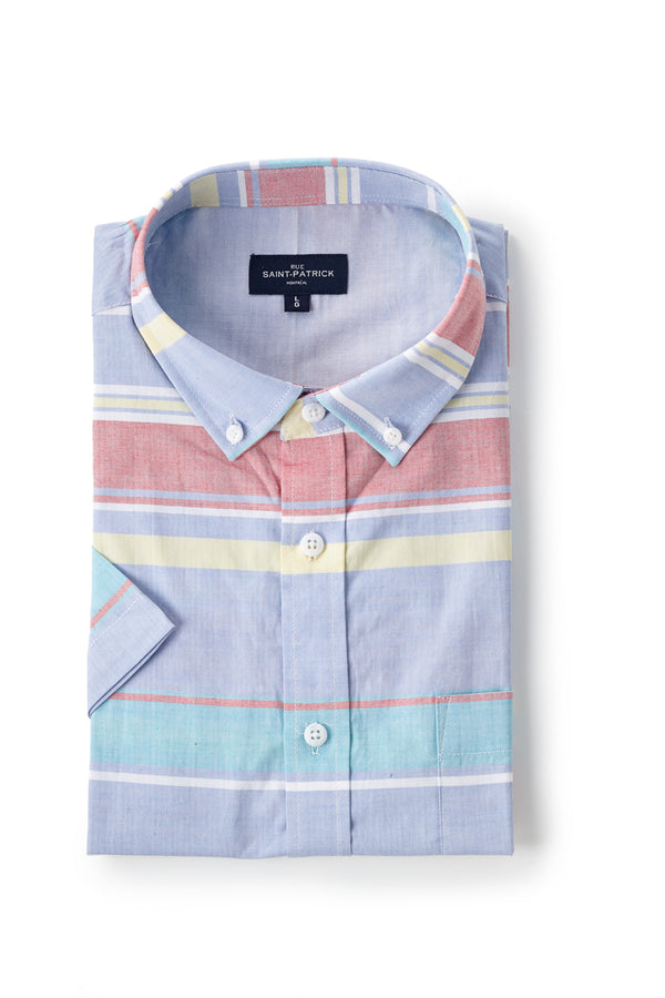 Printed Poplin Cork shirt in Blue Multi-Colour