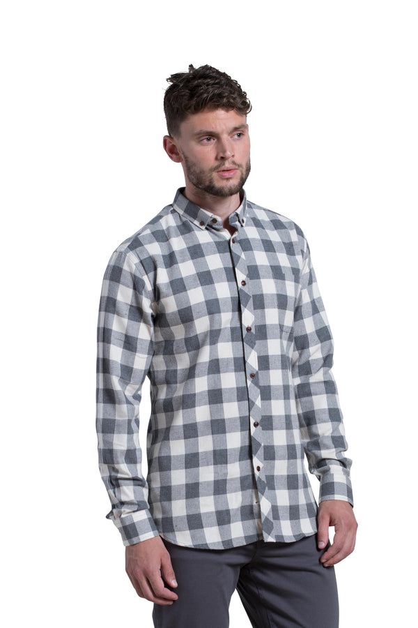 Clonmel Shirt in Grey / Ecru (Off White)