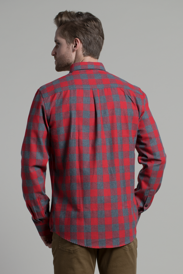 Clonmel Buffalo Shirt in Grey / Soft Red