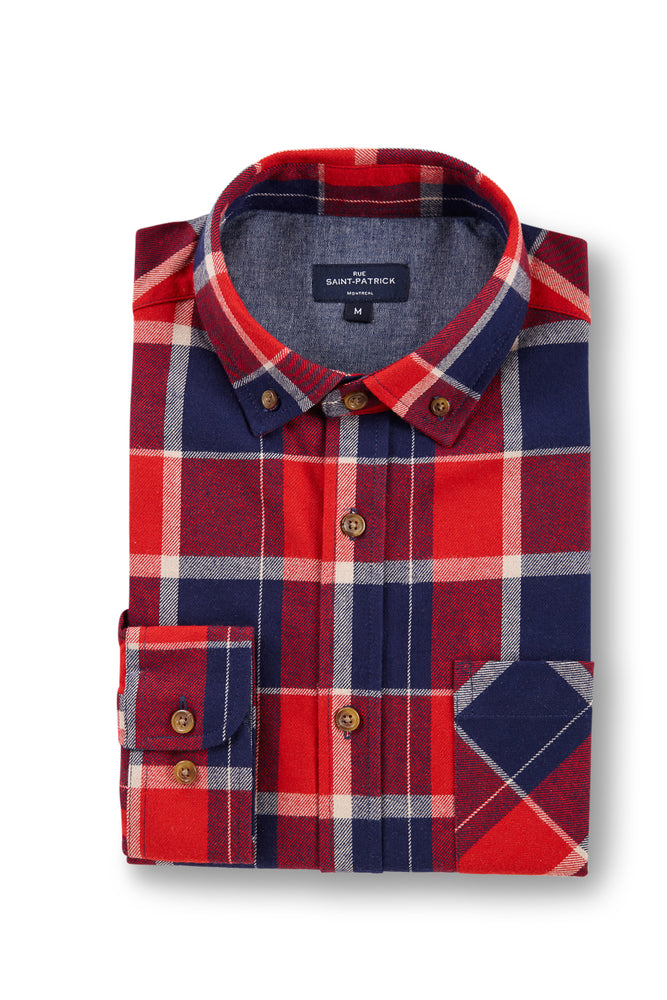 Heavyweight Workwear Crumlin Flannel Tartan Shirt in Red / Navy