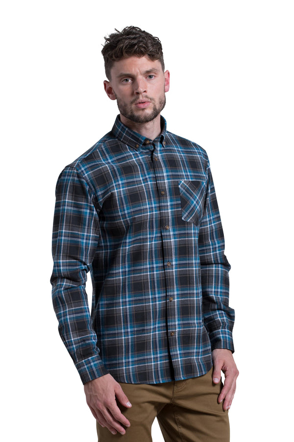 Heavyweight Workwear Crumlin Flannel Tartan Shirt in Teal / Brown