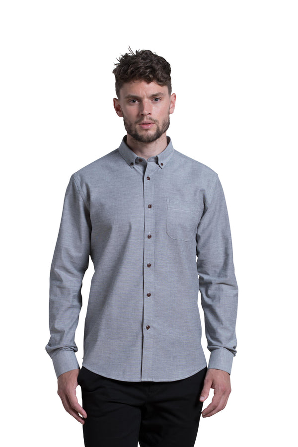 Antrim Stretch-Oxford Shirt in Dark Slate Grey