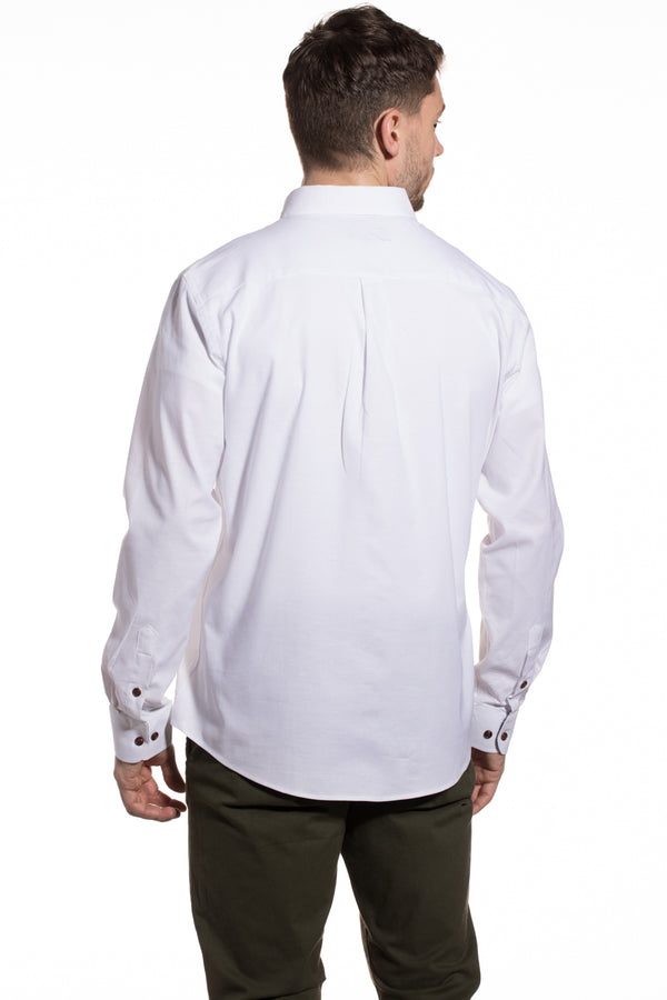 Stretch Tencel Blend Tralee Shirt in White