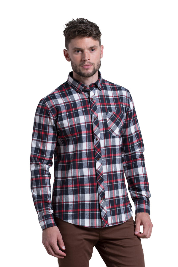 Clonmel Tartan Check Shirt in Navy and Red