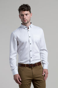 Tralee Stretch Tencel Blend Shirt in White with Black Buttons
