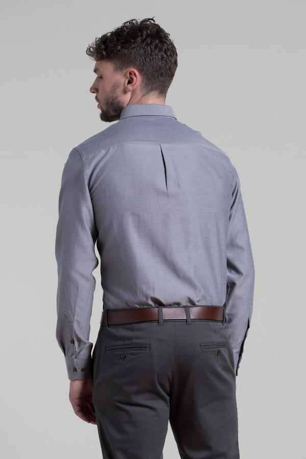Wexford Micro Oxford Shirt in Slate Grey