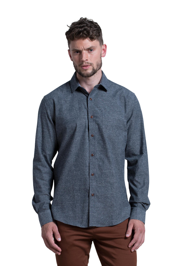 Limerick Brushed Chambray Shirt in Indigo