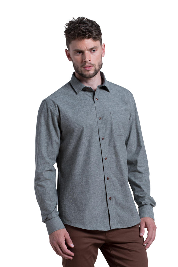 Limerick Brushed Chambray Shirt in Olive