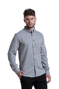 Dromore Brushed Diagonal Flannel Shirt in Charcoal