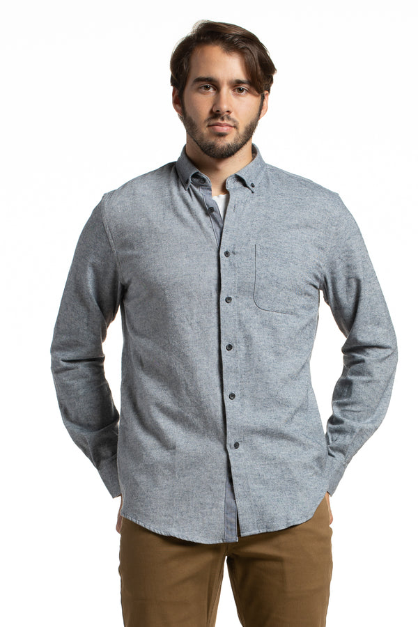 Brushed Diagonal Flannel Dromore shirt in Granite Grey