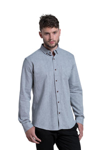 Dromore Brushed Diagonal Flannel Shirt in Mid Blue