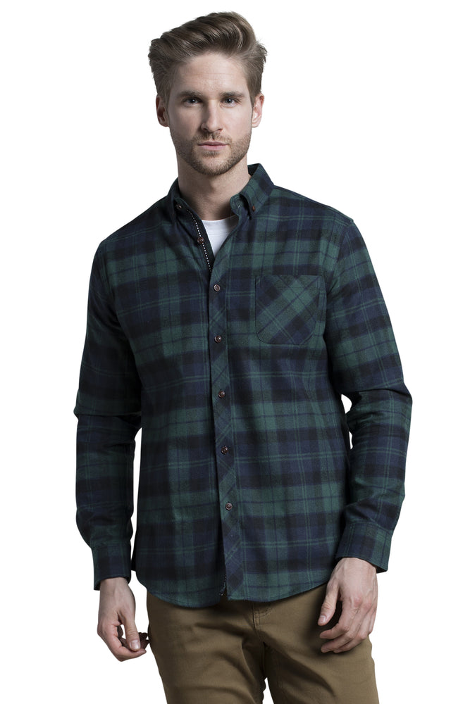 Clonmel Blackwatch Check Shirt in Forest / Navy