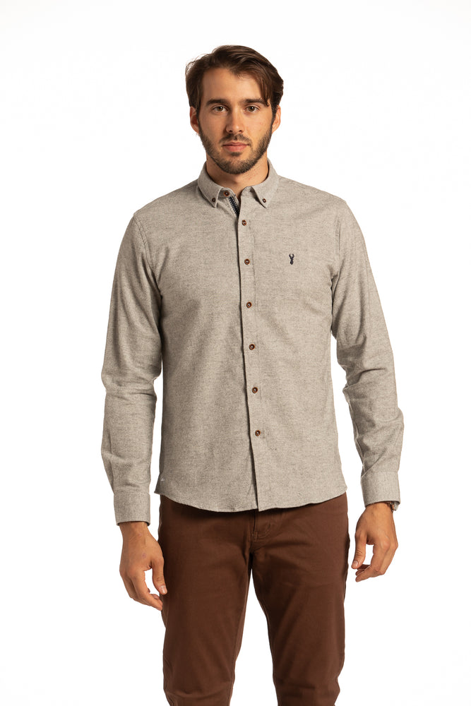 Dromore Stag Brushed Diagonal Twill Shirt in Grey