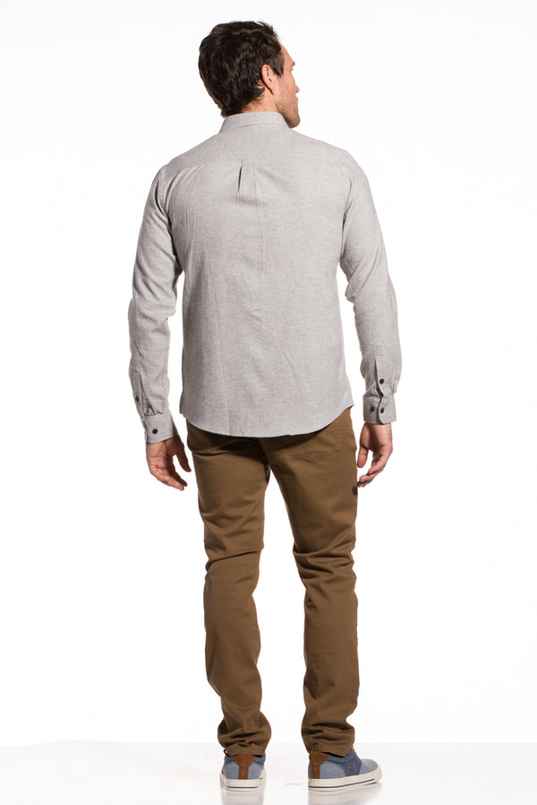 Dromore Brushed Diagonal Twill Shirt in Light Grey