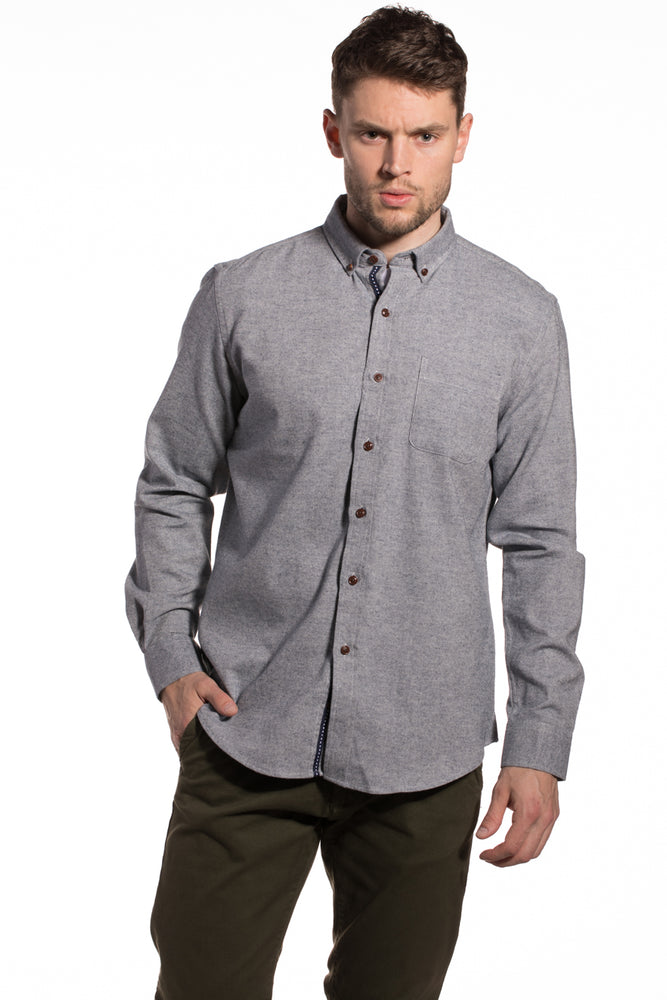 Dromore Brushed Diagonal Twill Shirt in Faded Blue