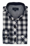 Connemara Shadow check Flannel Shirt in Navy and White