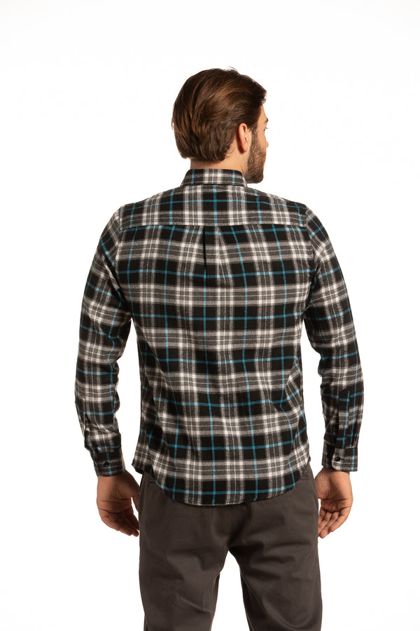 Connemara Gridline Check Flannel  Shirt in Black, Grey and Cobalt