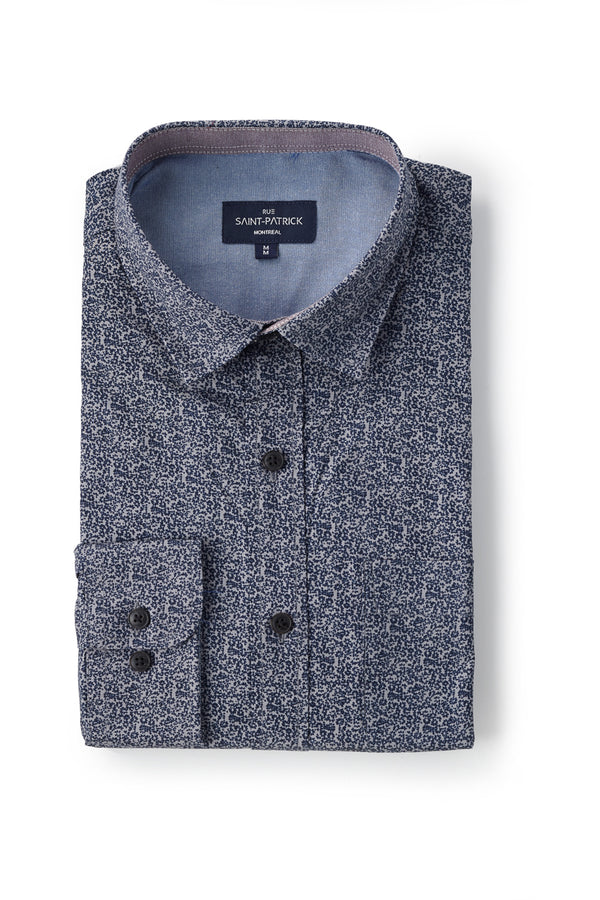 Monaghan Printed Stretch Poplin in Grey / Navy