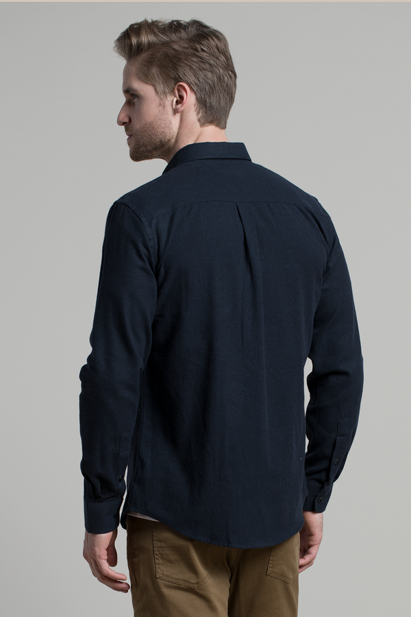 Dromore Brushed Pique shirt in Dark Navy