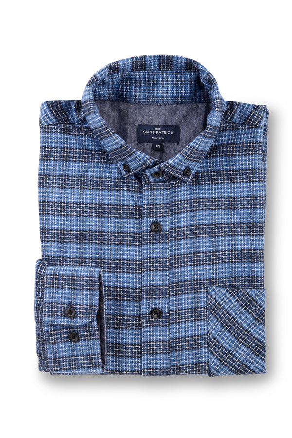 Supersoft Clonmore Flannel Checked Shirt in Denim Blue / Grey