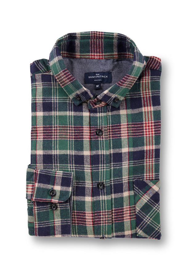 Supersoft Clonmore Flannel Checked Shirt in Green / Navy