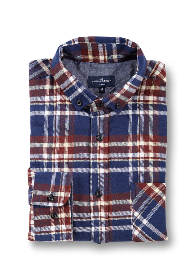 Supersoft Clonmore Flannel Checked Shirt in Navy / Burgundy