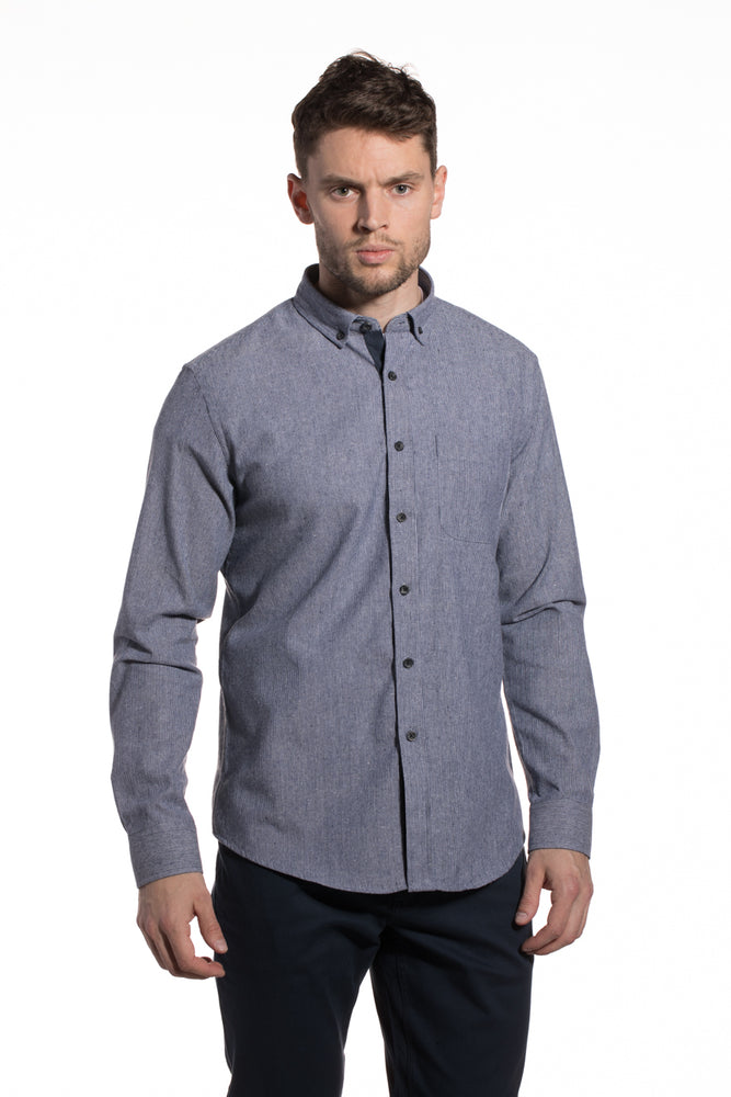 Pinstripe Lightly Brushed Bandon Shirt in Blue