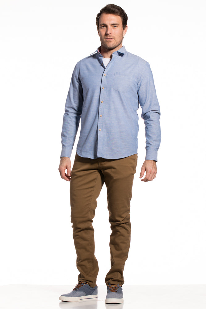 Slub Yarn Sligo Shirt in Light Blue