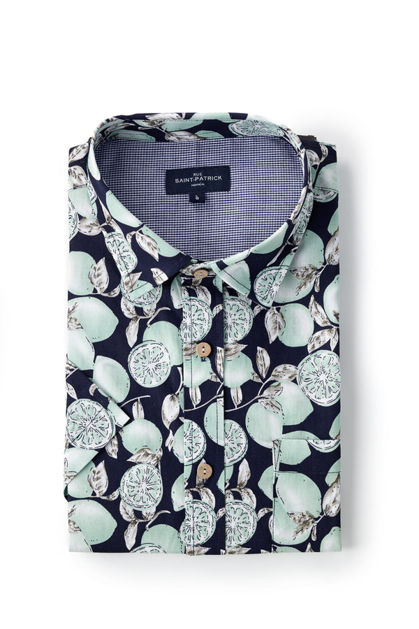 Printed Poplin Cork shirt in Navy / Green