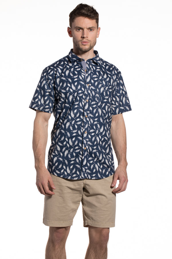 Printed Poplin Barbados Shirt in Navy / Ecru