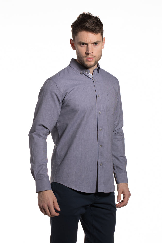 End-on-End Cotton Kells Shirt in Granite Grey