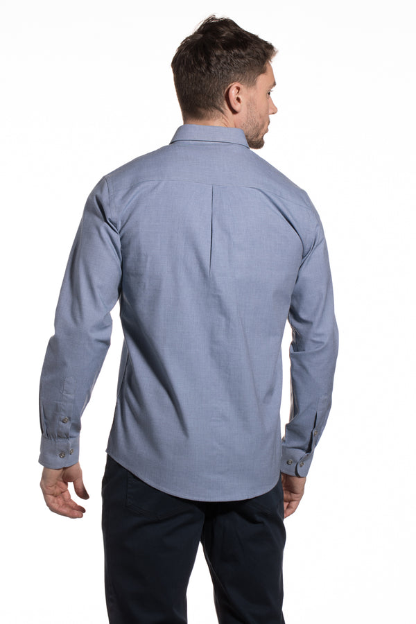 End-on-End Cotton Kells Shirt in Slate Blue