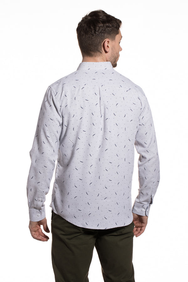 Printed Pique Roscrea Shirt in Slate Grey