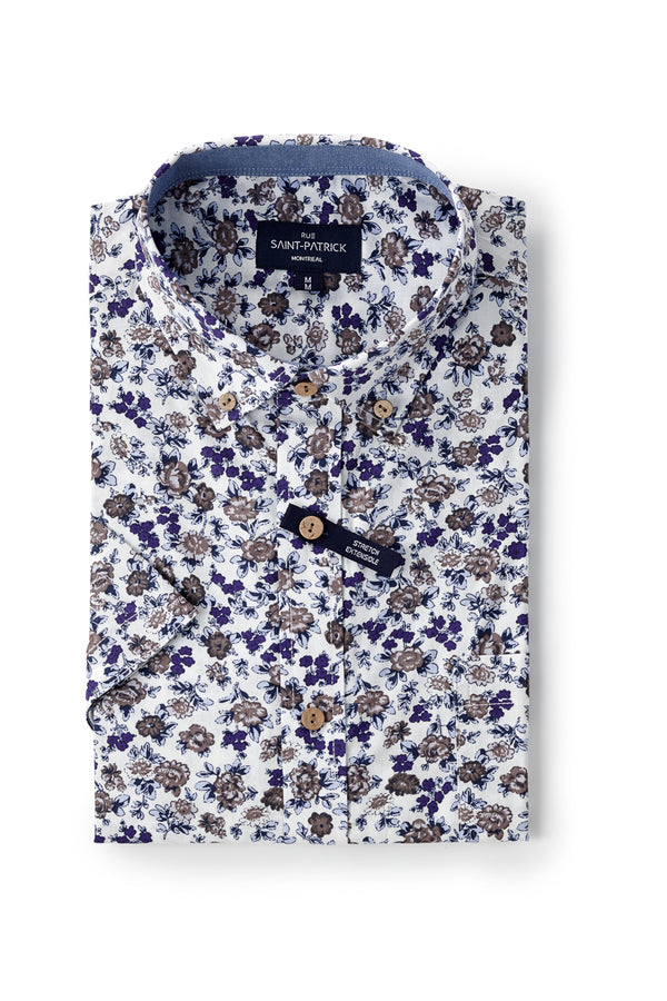 Japanese Floral Stretch printed Poplin Ballina Shirt in Navy