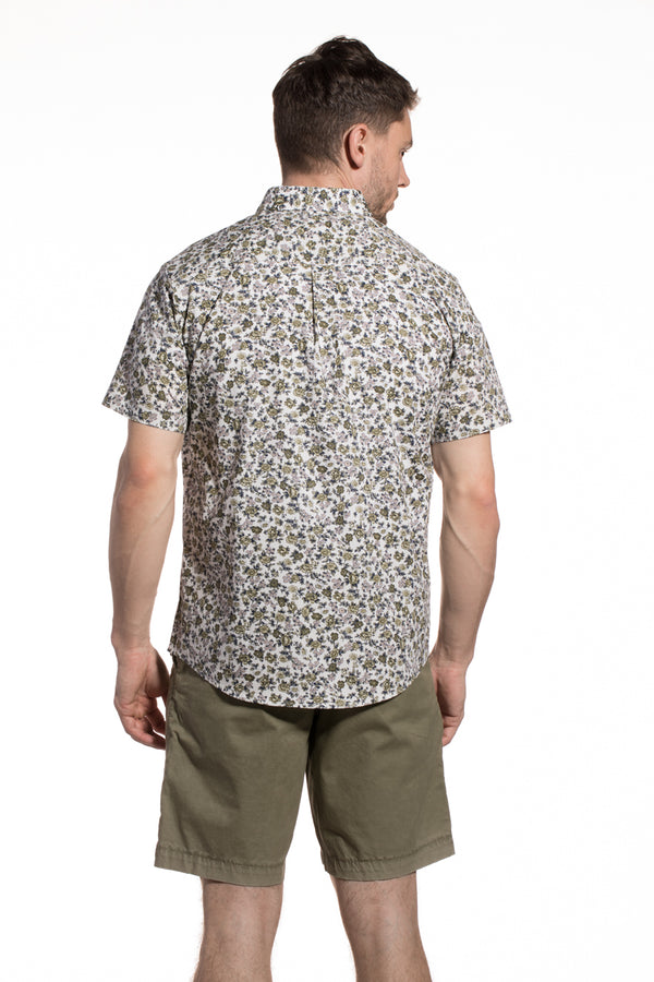Japanese Floral Stretch Printed Poplin Ballina Shirt in Olive