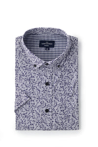 Stretch Printed Poplin Maynooth Shirt in White / Navy