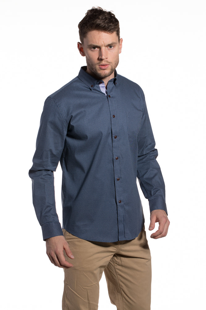 Printed Stretch Poplin Monaghan shirt in Navy Blue