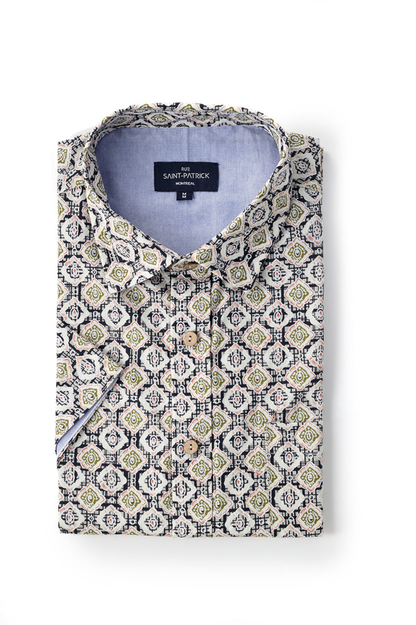 Printed Oxford Skerries Shirt in Blue / Green
