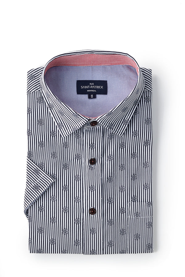 Printed Striped Nautical Poplin Buncrana Shirt in Navy Blue