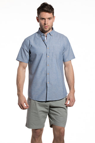 Stretch Printed Poplin Maynooth Shirt in White / Blue