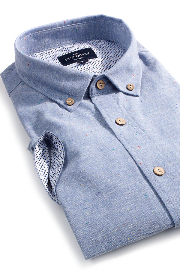 Chambray Colour Flecks Short Sleeve Shirt in Light Blue