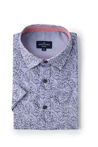 Stretch Printed Poplin Maynooth Shirt in Navy / Blue