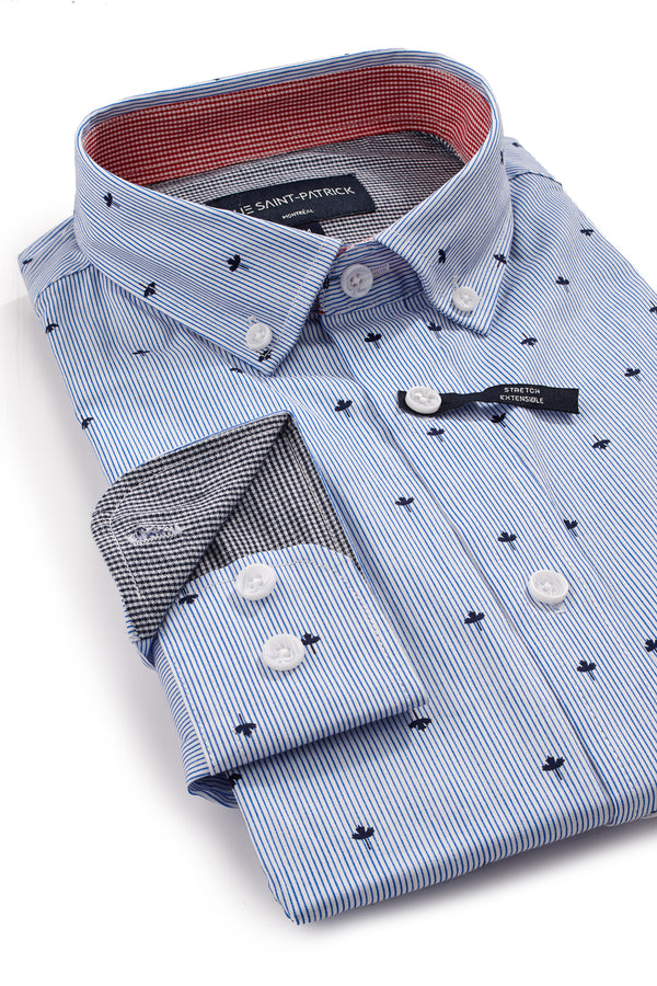 Pinstripe Maple Leaf Shirt in Blue