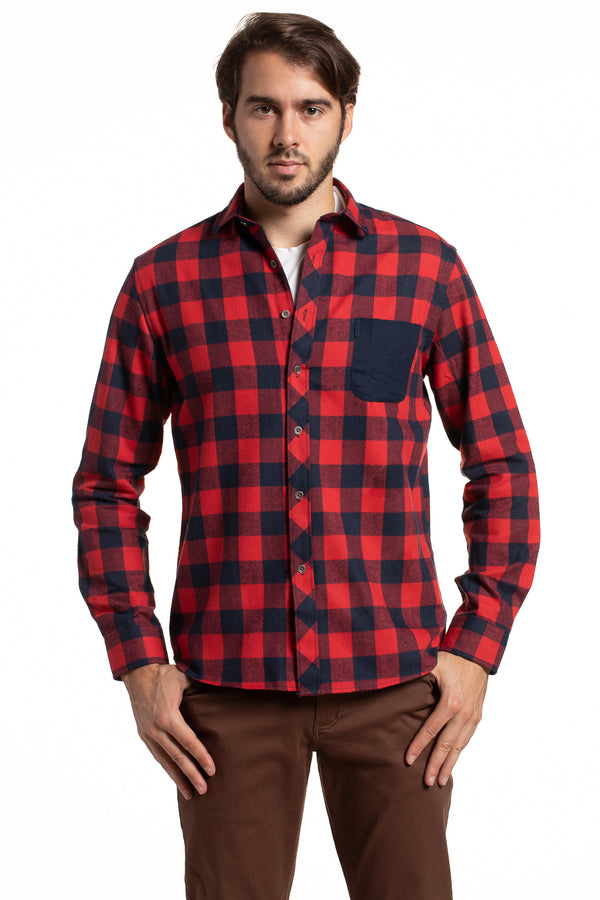 Rathlin Herringbone Buffalo Check Shirt with a Contrast Chest Pocket in Navy and Red