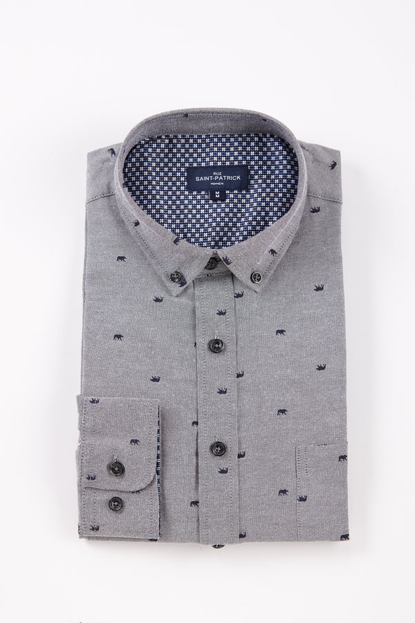 Easy Care Printed Kells Oxford Shirt in Slate Grey