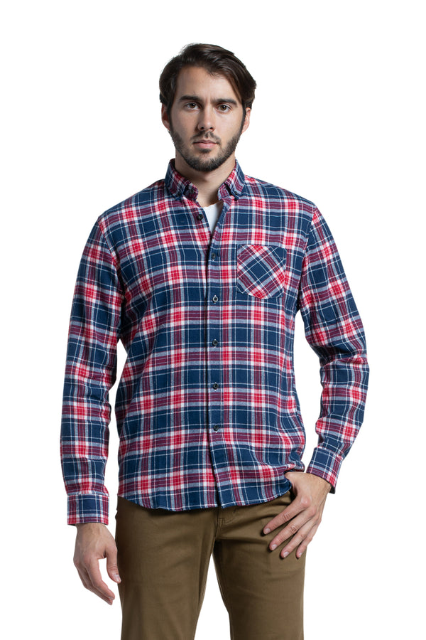 Supersoft Clonmore Flannel Checked Shirt in Navy / Red