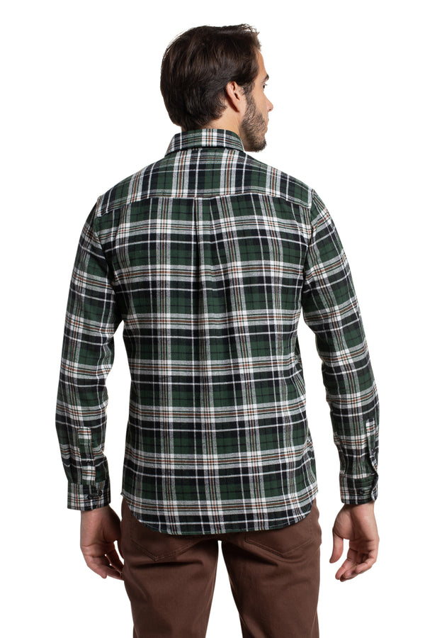Supersoft Clonmore Flannel Checked Shirt in Forest / Navy